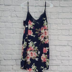 Soprano   Navy Floral Slip Dress with Lace Detail